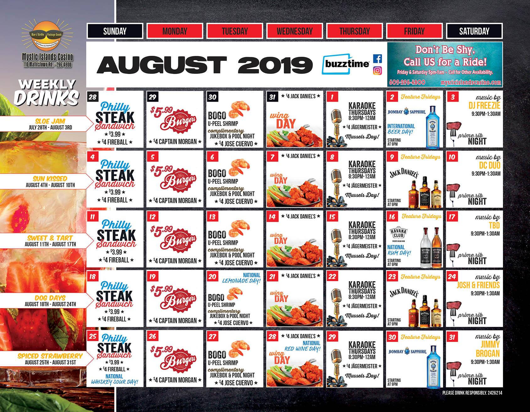 August Calendar of Events